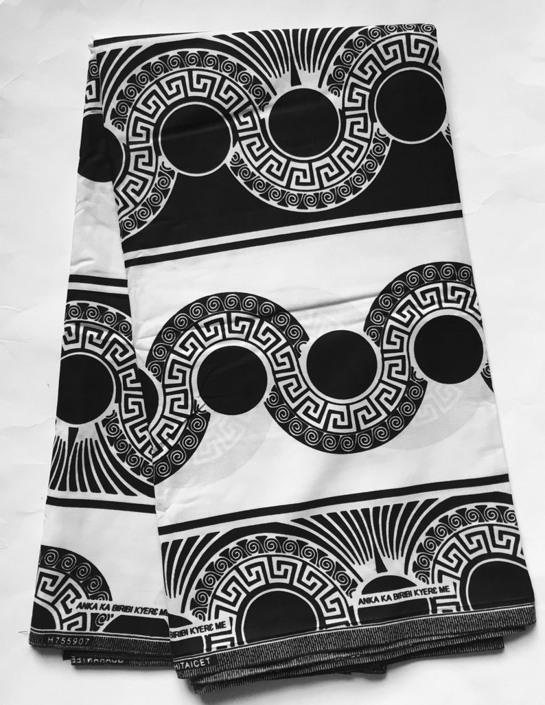 African Print Fabric/ Ankara - Black & White 'The Spirit is Moved 2 0',  YARD OR WHOLESALE