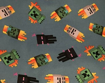 """Valance, Curtain Panel, Matching Pillow Cover """"Minecraft Mobs"""""""