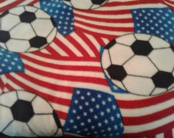 Soccer Fleece Fabric by the Yard