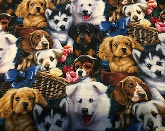 """Valance, Curtain Panel, Matching Pillow Cover """"Puppy"""""""