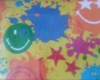 Smiley Flannel Fabric by the Yard