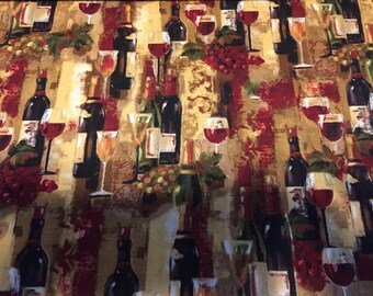 """Valance, Curtain Panel, Matching Pillow Cover """"Wine Bottles"""""""
