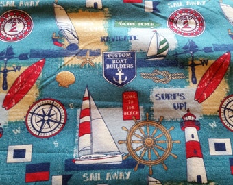 "Valance, Curtain Panel, Matching Pillow Cover ""Sailboat"""