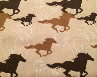 Horses Flannel Fabric by the Yard
