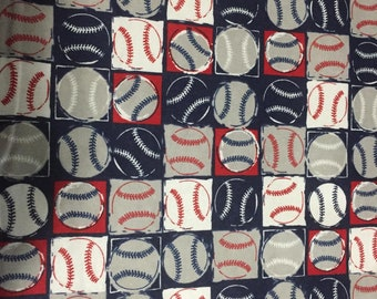 Baseballs Flannel Fabric by the Yard