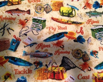 "Valance, Curtain Panel, Matching Pillow Cover "" Fly Fishing"""