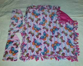 Handcrafted Fleece Butterfly Blanket with 2 Burp Rags