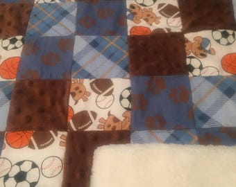 Handcrafted Sport Sherpa Backed Baby Quilt