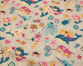 Mermaids Flannel Fabric by the Yard