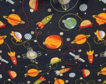 "Valance, Curtain Panel, Matching Pillow Cover ""Space Ships"""