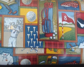 Golf Lined Placemat, Bowl Mitt, Hot Pad, Matching Lined Table Runner