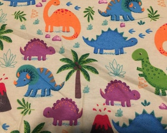 "Valance, Curtain Panel, Matching Pillow Cover ""Dinosaurs"""