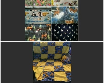 "Quilt, Baby, Throw, Twin, Full, Queen, King,  Pillow Cover,  Valance, Curtain Panel ""Wildlife"""