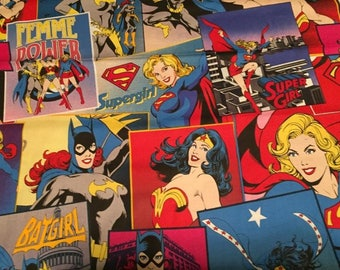 "Valance, Curtain Panel, Matching Pillow Cover"" Girl Super Heroes"""