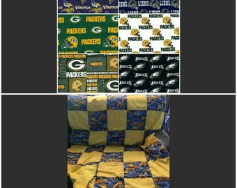 "Quilt, Baby, Throw, Twin, Full, Queen, King,  Pillow Cover,  Valance, Curtain Panel ""NFL NCF Teams"""