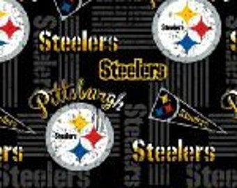 """Valance, Curtain Panel, Matching Pillow Cover """"Pittsburgh Steelers"""""""