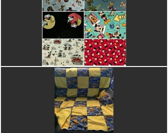 """Quilt, Baby, Throw, Twin, Full, Queen, King,  Pillow Cover,  Valance, Curtain Panel """"Mickey or Minnie Mouse"""""""