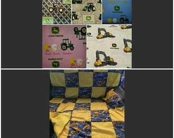 """Quilt, Baby, Throw, Twin, Full, Queen, King,  Pillow Cover,  Valance, Curtain Panel """"John Deere"""""""