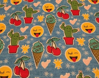 "Valance, Curtain Panel, Matching Pillow Cover ""Fun Emoji"""