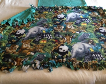 Handcrafted Fleece Jungle Blanket with FREE Matching Pillowcase
