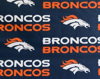 "Valance, Curtain Panel, Matching Pillow Cover ""Denver Broncos"""