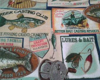 "Valance, Curtain Panel, Matching Pillow Cover "" Fishing"""