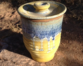 Jar with Lid, yellow, blue, green,