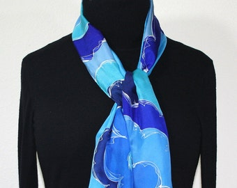 Blue Silk Scarf. Turquoise Hand Painted Silk Shawl. Handmade Silk Scarf FLORAL HORIZONS. Size 8x54. Birthday, Bridesmaid Gift. Gift-Wrapped
