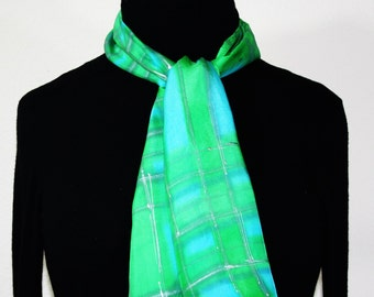 Silk Scarf Handpainted. Green, Turquoise Hand Painted Silk Shawl. Handmade Silk Scarf SUNNY VINEYARDS. Size 8x54. Birthday, Bridesmaid Gift