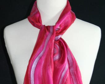 Pink Silk Scarf. Hot Pink Hand Painted Silk Shawl. Handmade Silk Scarf PINK RIVERS. Size 8x54. Birthday, Anniversary Gift. Gift-Wrapped.