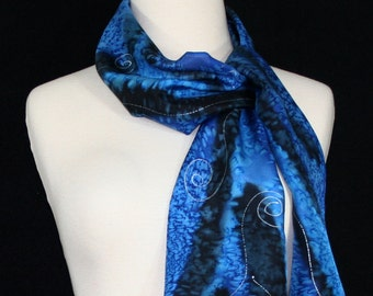 Cobalt Blue, Black Hand Painted Silk Shawl. Handmade Silk Scarf MOUNTAIN RIVERS, size 8x54. Birthday, Bridesmaid Gift. Gift-Wrapped