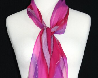 Small Silk Scarf Pink Violet Hand Painted Silk Shawl Chiffon COLORADO DAWN. 8x54. Birthday, Anniversary Gift. Christmas Gift. Small Scarf