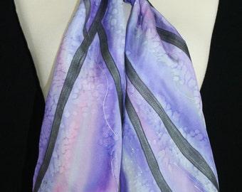 Silk Scarf Handpainted. Lavender, Purple Hand Painted Shawl. Handmade Silk Wrap PURPLE STREAM. Size 8x54. Birthday Gift Mother's Day