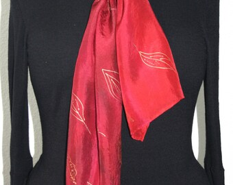 Red Silk Scarf. Merlot Red Hand Painted Silk Shawl. Handmade Silk Scarf CRIMSON FALL. Size 8x54. Birthday, Bridesmaid Gift. Gift-Wrapped.