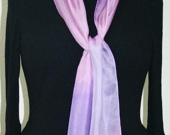 Lavender Silk Scarf. Purple Hand Painted Silk Shawl. Grey Handmade Silk Scarf LAVENDER BREEZE, size 8x54. Birthday Gift, Bridesmaid Gift.