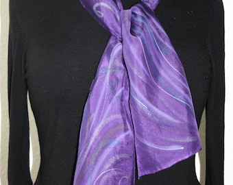 Silk Scarf Handpainted. Violet, Purple Hand Painted Shawl. Purple Handmade Silk Stole PURPLE WINDS. Size 8x54. Birthday, Bridesmaid Gift