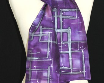 Purple Silk Scarf. Violet Hand Painted Silk Shawl. Lavender Handmade Silk Scarf VIOLET MEMORIES. Size 8x54. Birthday Gift, Bridesmaid Gift
