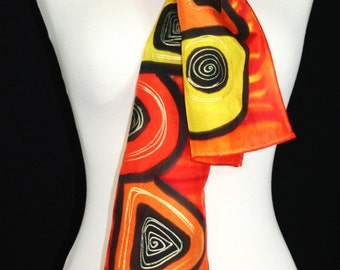 Red Silk Scarf. Merlot Red Hand Painted Silk Shawl. Berry Handmade Silk Scarf RED GEOMETRICS. Size 8x54. Birthday, Mother Gift. Gift-Wrapped