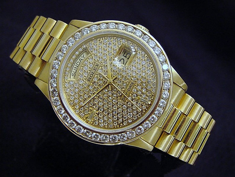 09b255414040f Pre-Owned Mens Rolex 18K Gold Day-Date President Diamond