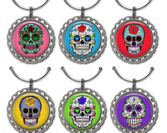 Sugar Skull, Wine Glass Charms, Sugar Skull Charms, Hostess Gift