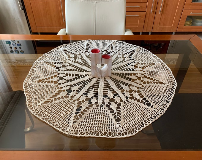 Large Doily Hand Crocheted Round Lace Cotton Handmade Doilies Tablecloth Table Centerpiece, Home Decorations, Mother's Day, Gift for Grandma