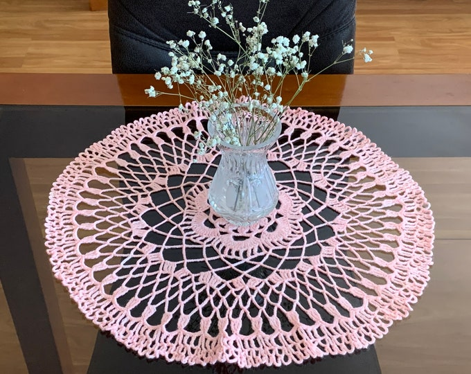 Pink Round Doily Crocheted Handmade Sweet Tablecloth Home Decoration Baby Girl Room Decor Table Centerpiece Crochet Placemat Gift for Mom