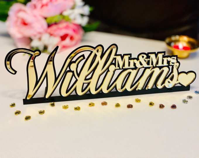 Personalized Mr & Mrs Wedding Surname Sign Custom Top Table Freestanding Metal Sign Sweetheart Table Decor Last Name Gold Black Centerpiece
