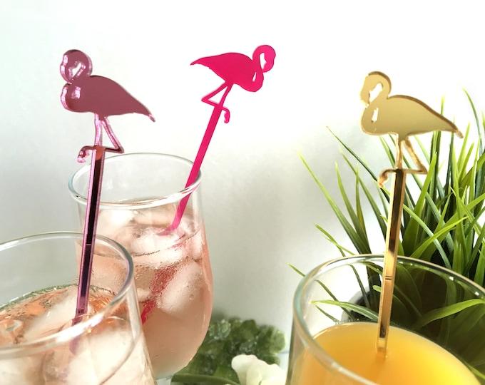 Flamingo Drink Stirrers Swizzle Stir Sticks Pink Cupcake Topper Tropical Beach Wedding Party Picks Bar Decor Hawaiian Baby Shower Birthday