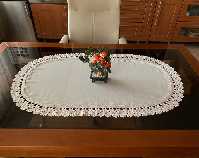 Linen Tablecloth with Lace Natural Doily Crochet Oval Handmade Large Table Topper Cotton Beige Centerpiece Vintage Xmas Gift for Mom Grandma