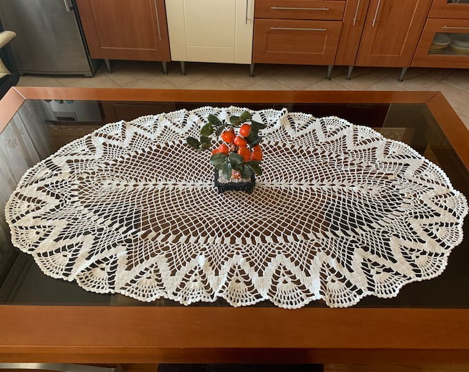 Oval Lace Tablecloth Large Doily Crochet White Doilies Handmade Vintage Table Centerpiece Hand Crocheted Home Decor Wedding Gift Tabletop