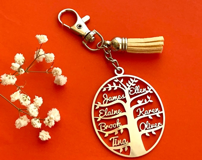 Personalized Family Name Tree of Life Keychain Necklace Oval Custom Keyring Laser Cut Family Names Key Chain Stainless Steel Unique Gifts