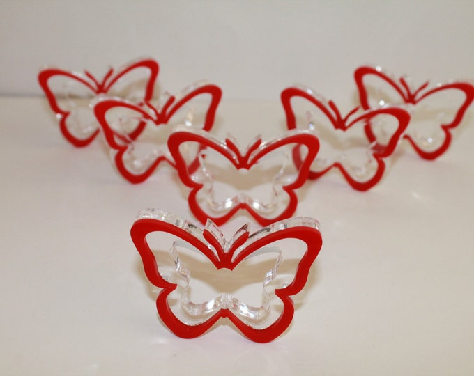 Red Napkin Ring Holders Butterfly Party Decoration Butterflies Birthday Red Acrylic Napkin Rings Tableware Formal Dinning House warming gift