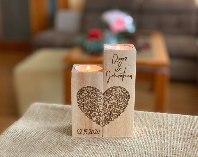 Personalized Wooden Candle Holder Heart Love Tea light Candles Wedding Save Date Valentines Gift Custom Engraved Names Wood Home Decorations