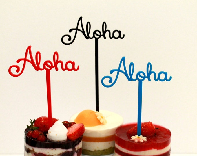 Aloha Cake Topper Food picks Hawaiian Wedding Tropical Custom cupcake Table centerpiece Party picks Beach Decor Aloha Hawaiian Party decor